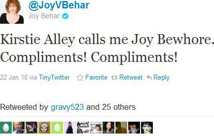 Kirstie Alley Attacked Joy Behar on Twitter