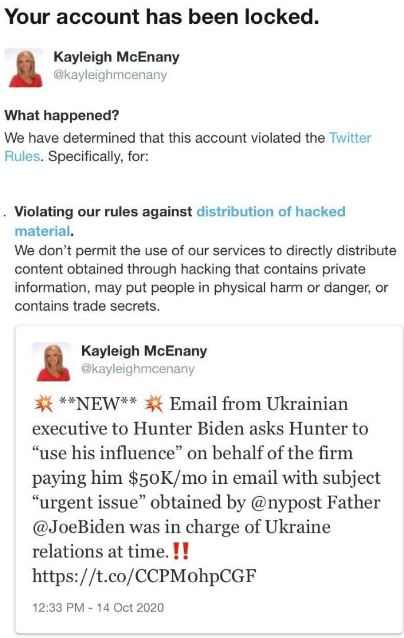 Twitter Locking Accounts for NY Post Hunter Biden Links