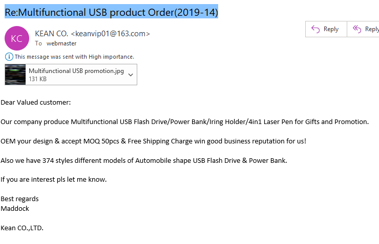 """Re:Multifunctional USB product Order(-)"" from Kean Co. Ltd."