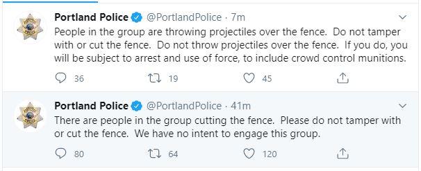 Portland Police Bureau Threatening Protesters