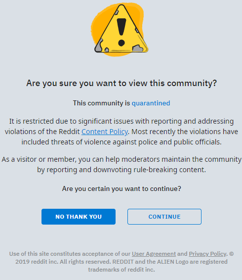 /r/The_Donald Quarantined Due to Abuse