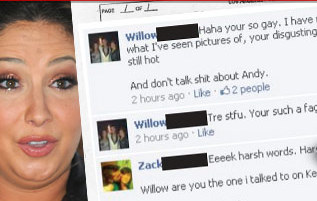 Willow Palin Bullying Facebook Users with Anti-Gay Slurs